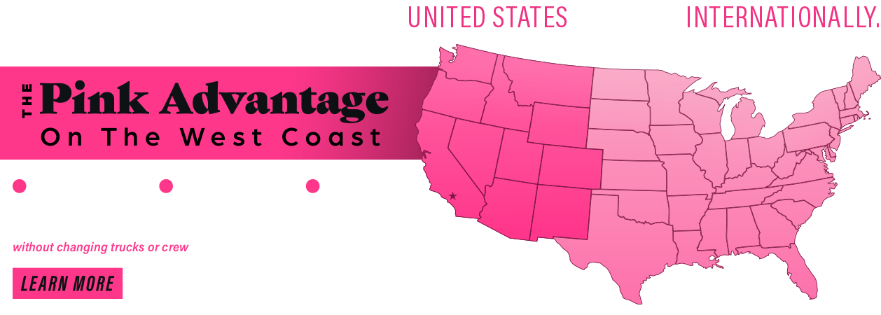 Pink Transfer Moving & Storage Advantage Map